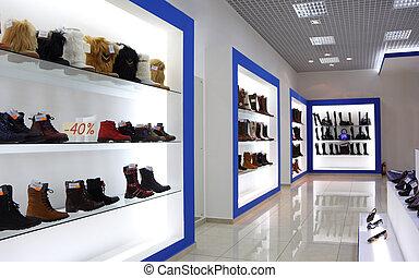 内部, 店, 靴