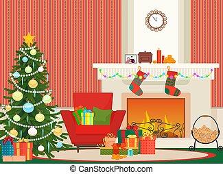 内部, 新しい, 暖炉, 壁, 肘掛け椅子, クリスマス, ベクトル, 赤, socks., 木, 平ら, ...
