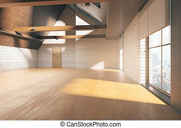 内部, 明るい, 屋根裏