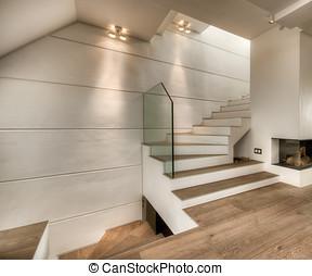 内部, 暖炉, 白, 階段