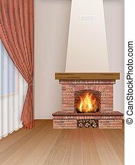 内部, 暮らし, 暖炉, 部屋