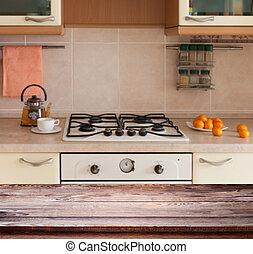 内部, 木製である, 台所テーブル