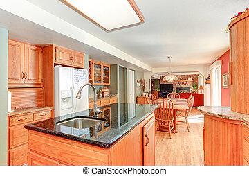 内部, 木, オーク, cabinetry, 明るい, 台所