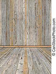 内部, 板, 古い, 木製である