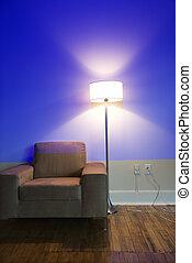 内部, 椅子, そして, lamp.