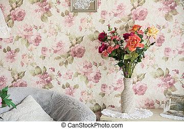 内部, 椅子, 花, 部屋, pillowsand