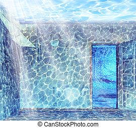 内部, 水中
