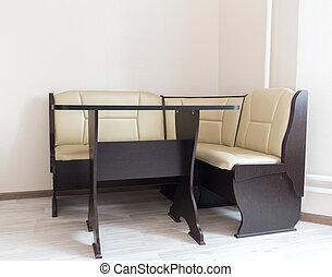 内部, 沙发, 厨房, 角落, 桌子