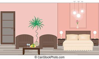 内部, 流行, ホテルの部屋, 家具