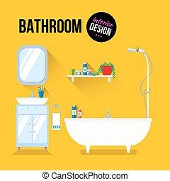 内部, 浴室, デザイン