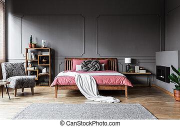 内部, 灰色, 広い, 寝室