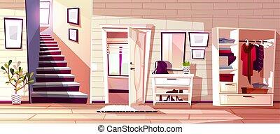 内部, 玄関, ベクトル, 部屋, イラスト