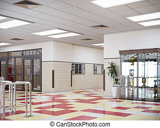 内部, 玄関, 学校, イラスト, 3d