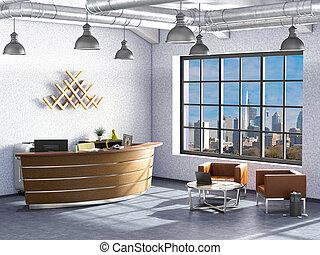 内部, 現代, オフィス, イラスト, 3d