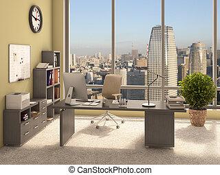 内部, 現代, オフィス