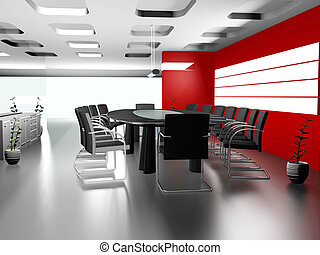 内部, 現代, オフィス, 3d