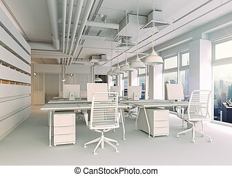 内部, 現代, オフィス, render, 3d