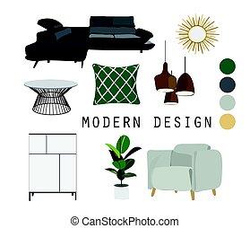 内部, 現代, デザイン, イラスト
