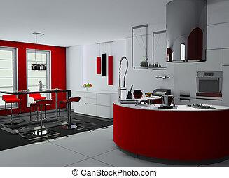 内部, 現代, 台所