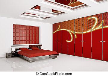 内部, 現代, 寝室, render, 3d