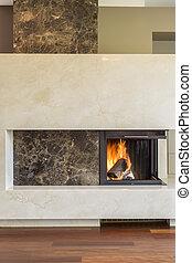 内部, 現代, 暖炉, 贅沢