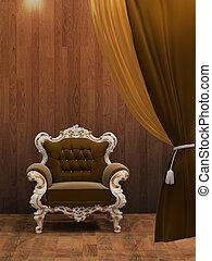 内部, 現代, 木製の肘掛け椅子