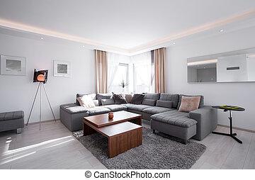 内部, 現代, 設計された, 家具