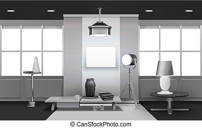 内部, 現実的, デザイン, 屋根裏, 3d