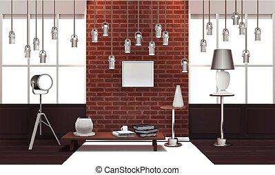 内部, 現実的, ランプ, 屋根裏, 掛かること