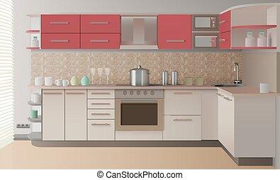内部, 現実的, 台所