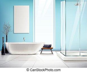 内部, 現実的, 浴室, デザイン