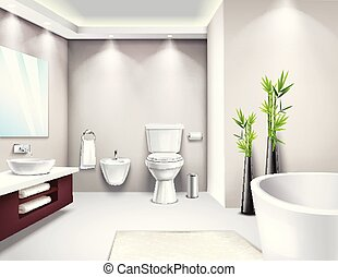 内部, 現実的, 浴室, デザイン, 贅沢