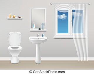 内部, 現実的, 浴室, ベクトル, イラスト