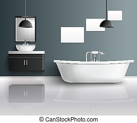 内部, 現実的, 浴室, 構成