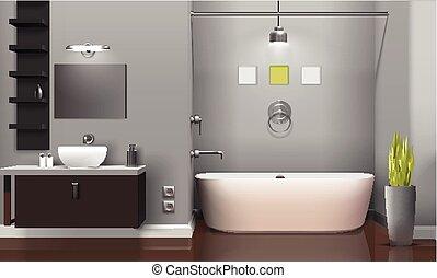 内部, 現実的, 浴室, 現代, デザイン