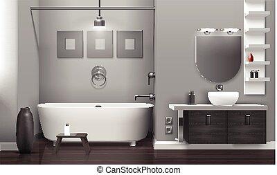 内部, 現実的, 浴室