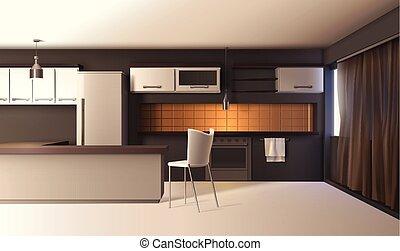 内部, 現実的, 現代, 台所