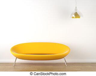 内部, 白, デザイン, 黄色のソファー