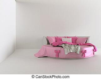 内部, 白, 贅沢, ベッド, 寝室