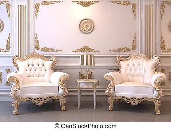内部, 皇族, 贅沢, 家具
