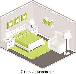 内部, 等大, スタイル, 寝室