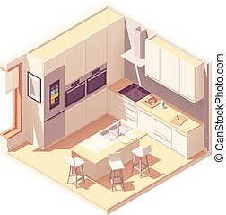 内部, 等大, ベクトル, 台所
