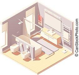 内部, 等大, ベクトル, 浴室