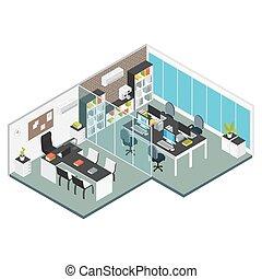 内部, 等大, 仕事場, オフィス