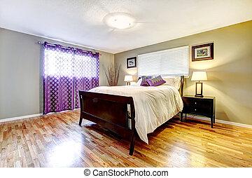 内部, 紫色, 寝室, カーテン