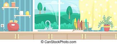 内部, 美しい, illustration., cabinets., ビュー。, ポット, 台所, ベクトル, 流し, トースター, 皿, 平ら, 花, 窓, countertop., 木製である