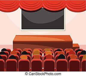 内部, 聴衆, ステージ
