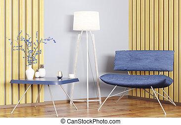 内部, 肘掛け椅子, コーヒーテーブル