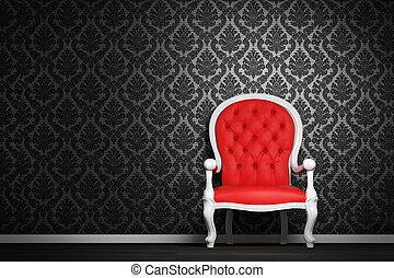 内部, 肘掛け椅子, 現代, 赤