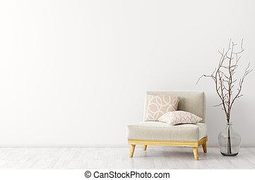 内部, 肘掛け椅子, 現代, 3d, レンダリング